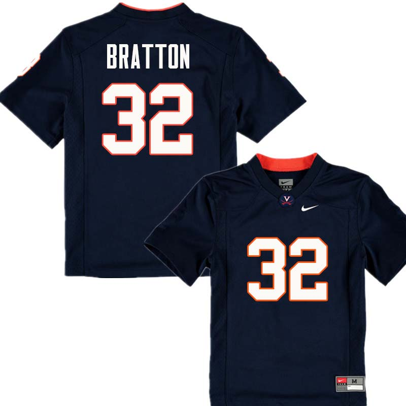 Men #32 Darrius Bratton Virginia Cavaliers College Football Jerseys Sale-Navy