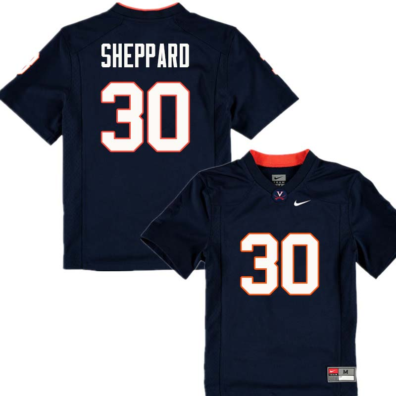 Men #30 Dominic Sheppard Virginia Cavaliers College Football Jerseys Sale-Navy