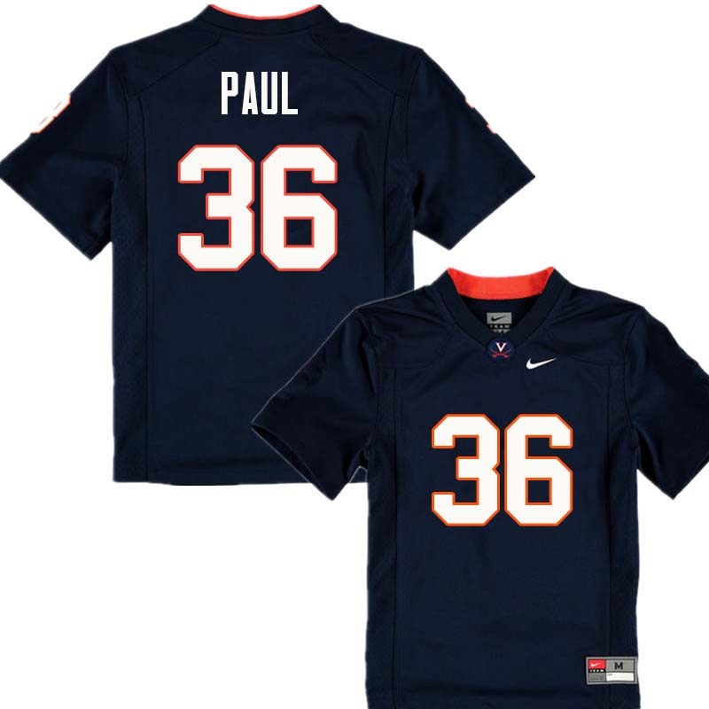 Men #36 Gladimir Paul Virginia Cavaliers College Football Jerseys Sale-Navy