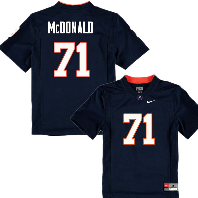 Men #71 Jack McDonald Virginia Cavaliers College Football Jerseys Sale-Navy