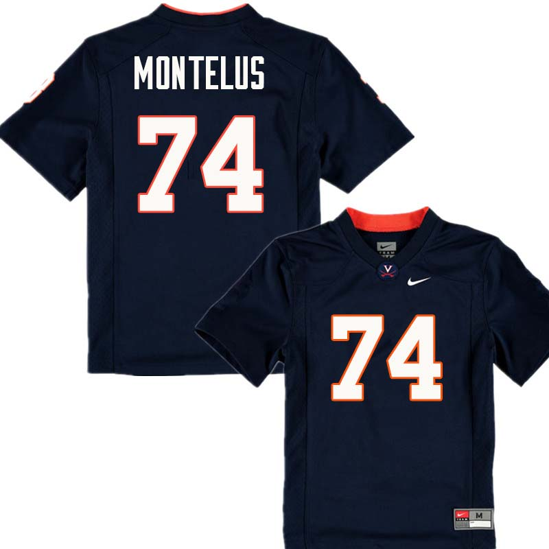 Men #74 John Montelus Virginia Cavaliers College Football Jerseys Sale-Navy