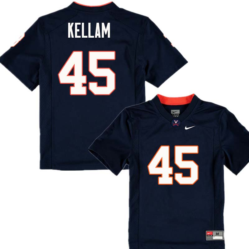 Men #45 Reed Kellam Virginia Cavaliers College Football Jerseys Sale-Navy