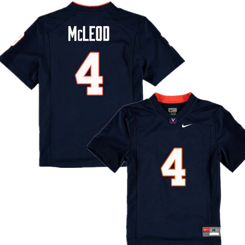 Men #4 Rodney McLeod Virginia Cavaliers College Football Jerseys Sale-Navy