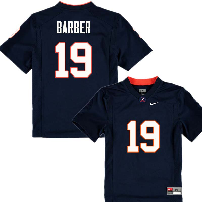 Men #19 Ronde Barber Virginia Cavaliers College Football Jerseys Sale-Navy