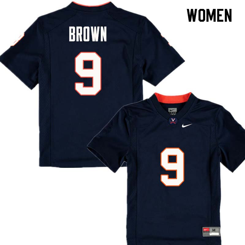 Women #9 Andrew Brown Virginia Cavaliers College Football Jerseys Sale-Navy
