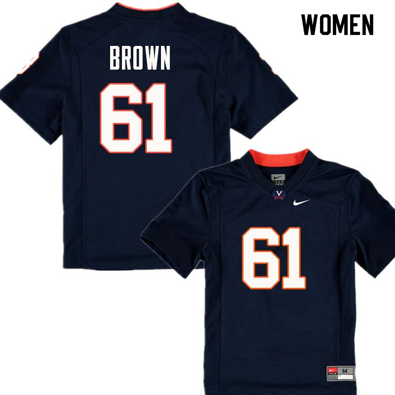 Women #61 Elton Brown Virginia Cavaliers College Football Jerseys Sale-Navy