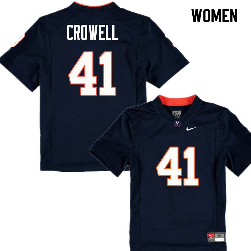 Women #41 Germane Crowell Virginia Cavaliers College Football Jerseys Sale-Navy
