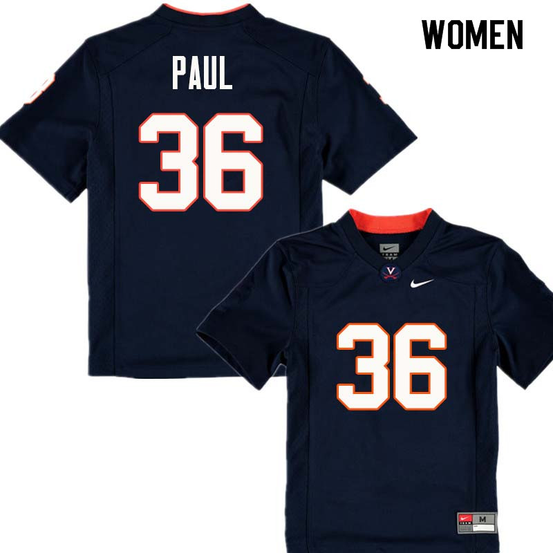 Women #36 Gladimir Paul Virginia Cavaliers College Football Jerseys Sale-Navy