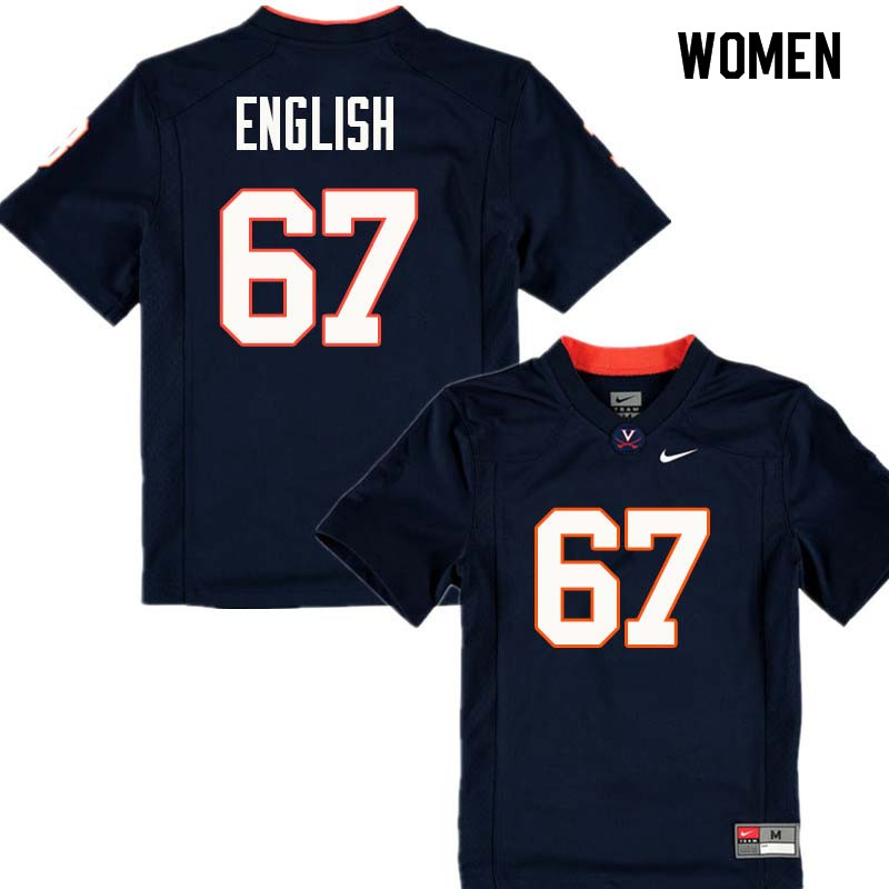 Women #67 Jack English Virginia Cavaliers College Football Jerseys Sale-Navy