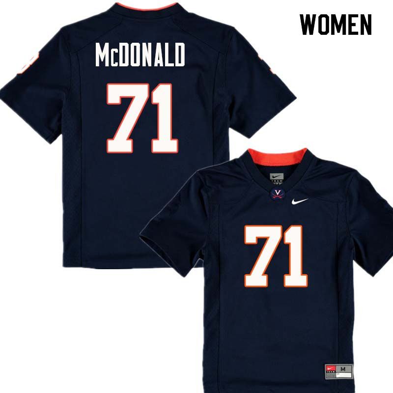 Women #71 Jack McDonald Virginia Cavaliers College Football Jerseys Sale-Navy