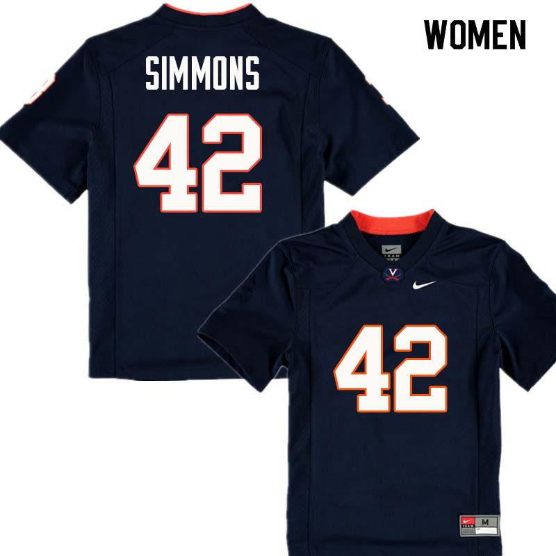 Women #42 Jahvoni Simmons Virginia Cavaliers College Football Jerseys Sale-Navy