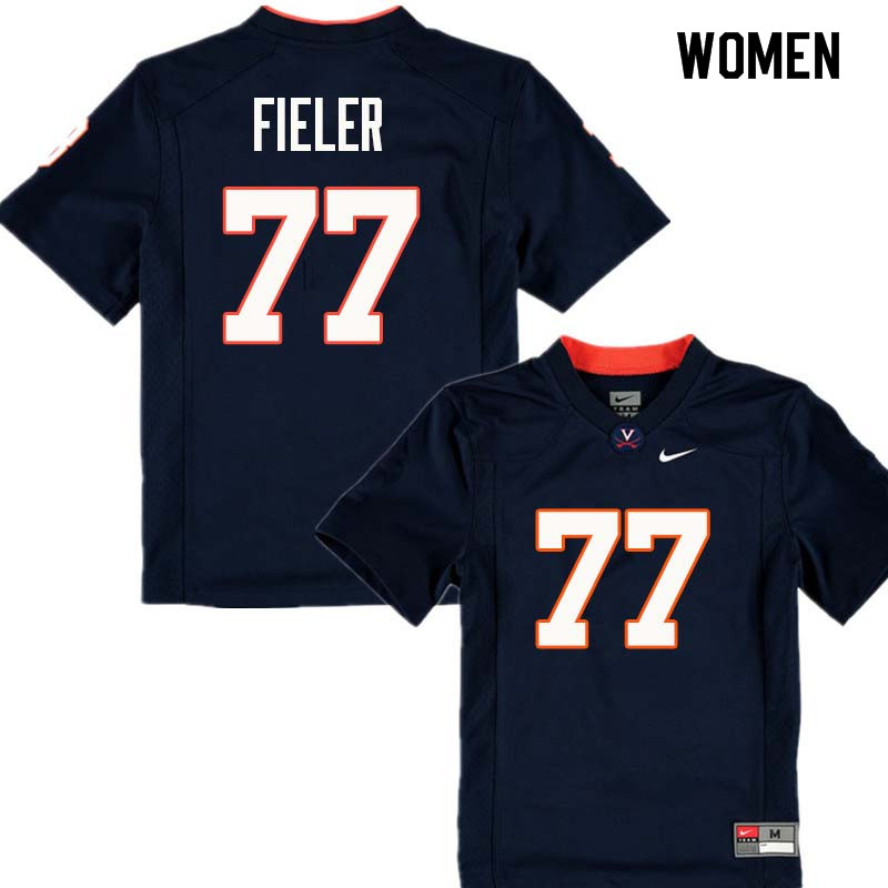 Women #77 Jake Fieler Virginia Cavaliers College Football Jerseys Sale-Navy
