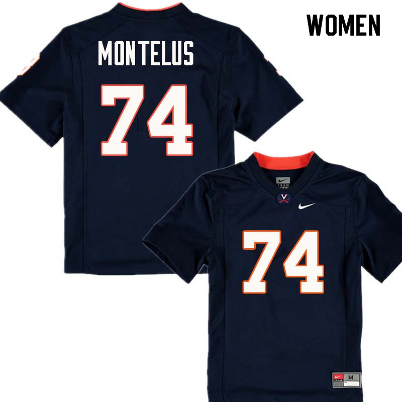 Women #74 John Montelus Virginia Cavaliers College Football Jerseys Sale-Navy