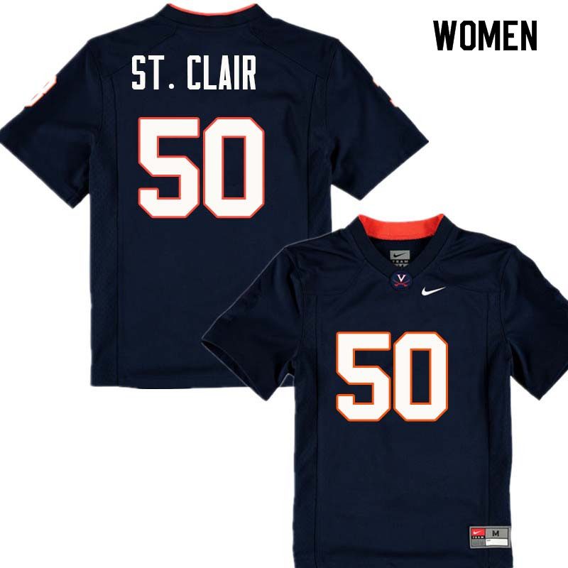Women #50 John St. Clair Virginia Cavaliers College Football Jerseys Sale-Navy