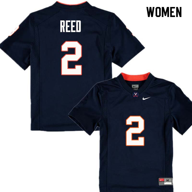 Women #2 Joseph Reed Virginia Cavaliers College Football Jerseys Sale-Navy