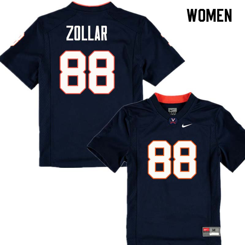 Women #88 Justin Zollar Virginia Cavaliers College Football Jerseys Sale-Navy