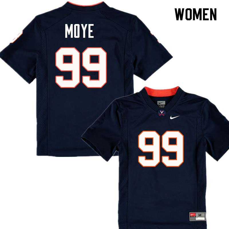 Women #99 Juwan Moye Virginia Cavaliers College Football Jerseys Sale-Navy