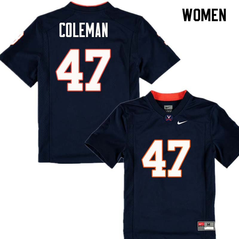 Women #47 Lester Coleman Virginia Cavaliers College Football Jerseys Sale-Navy