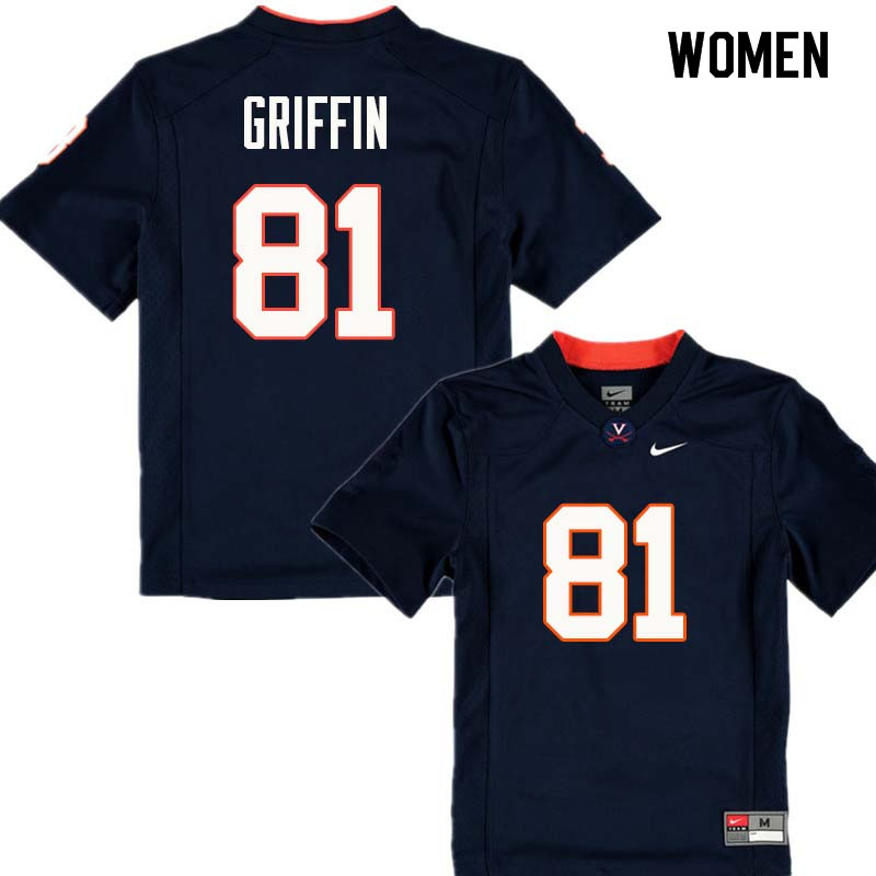 Women #81 Nash Griffin Virginia Cavaliers College Football Jerseys Sale-Navy