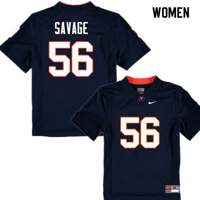 Women #56 Ray Savage Virginia Cavaliers College Football Jerseys Sale-Navy