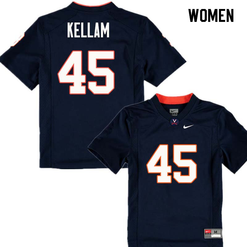 Women #45 Reed Kellam Virginia Cavaliers College Football Jerseys Sale-Navy