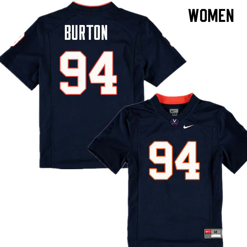 Women #94 Riah Burton Virginia Cavaliers College Football Jerseys Sale-Navy