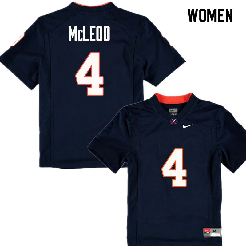 Women #4 Rodney McLeod Virginia Cavaliers College Football Jerseys Sale-Navy