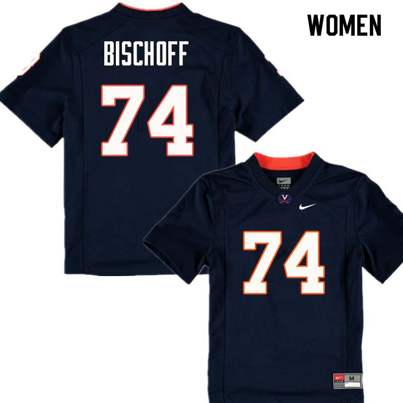 Women #74 Ryan Bischoff Virginia Cavaliers College Football Jerseys Sale-Navy