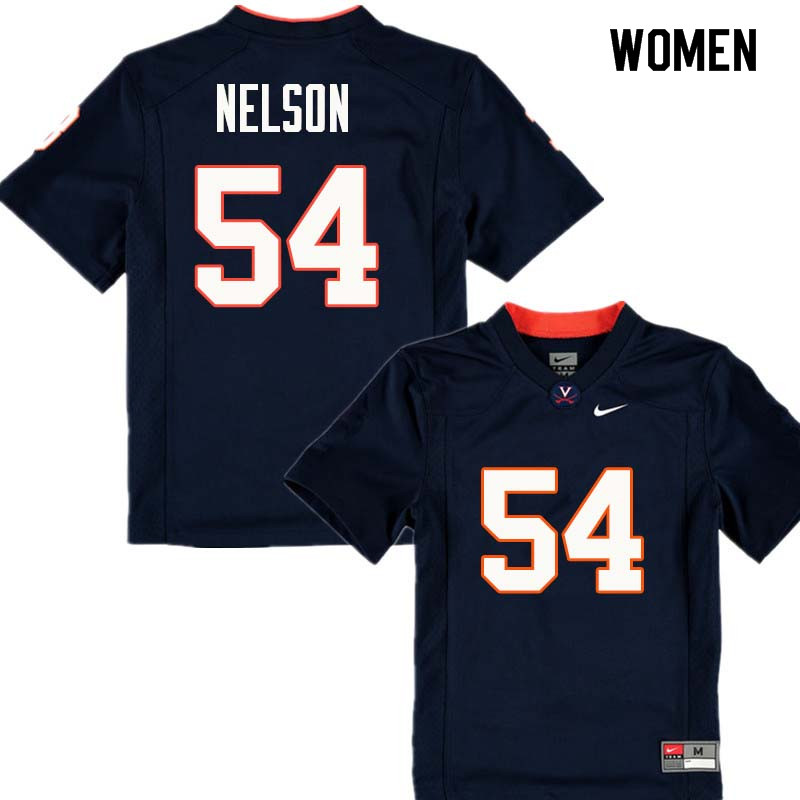 Women #54 Ryan Nelson Virginia Cavaliers College Football Jerseys Sale-Navy