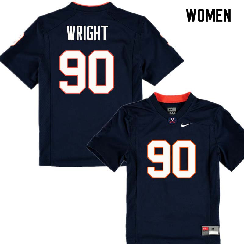 Women #90 Steven Wright Virginia Cavaliers College Football Jerseys Sale-Navy