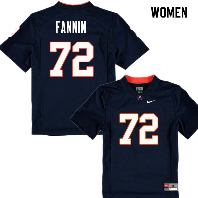 Women #72 Tyler Fannin Virginia Cavaliers College Football Jerseys Sale-Navy