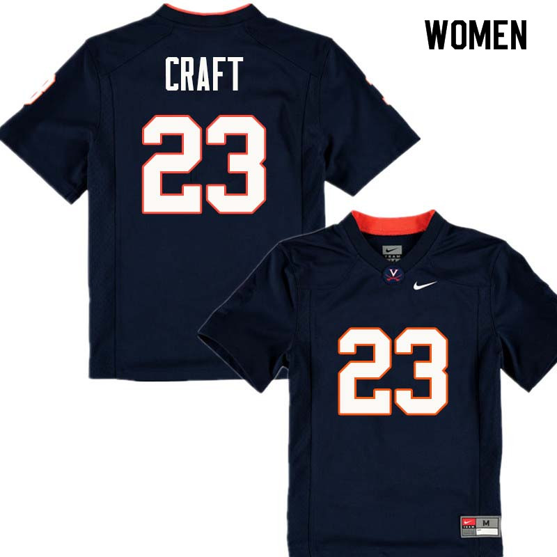 Women #23 Warren Craft Virginia Cavaliers College Football Jerseys Sale-Navy