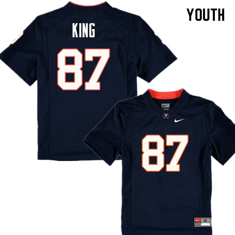 Youth #87 Andrew King Virginia Cavaliers College Football Jerseys Sale-Navy
