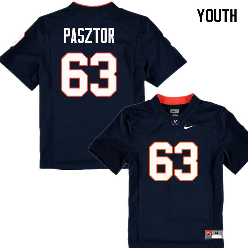 Youth #63 Austin Pasztor Virginia Cavaliers College Football Jerseys Sale-Navy