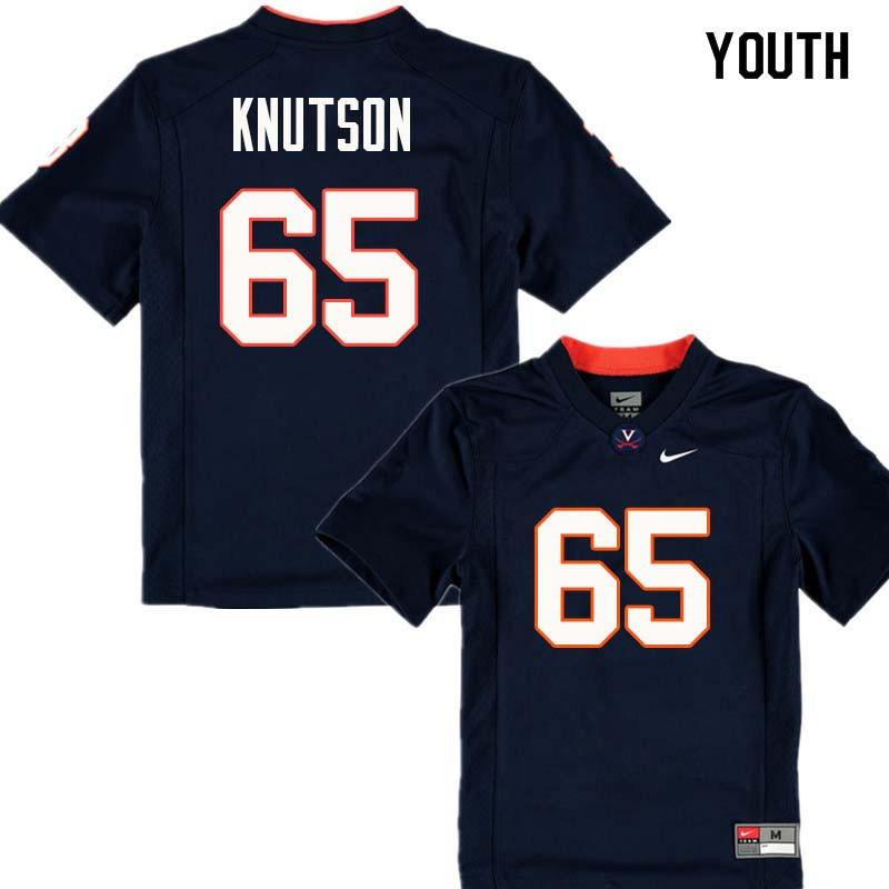 Youth #65 Ben Knutson Virginia Cavaliers College Football Jerseys Sale-Navy