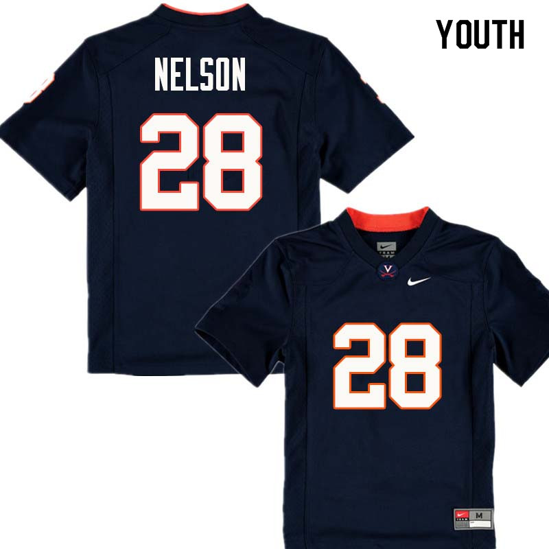 Youth #28 Brenton Nelson Virginia Cavaliers College Football Jerseys Sale-Navy