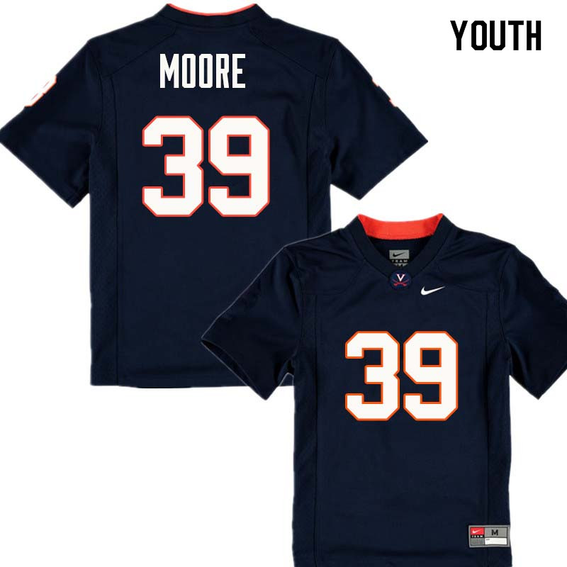 Youth #39 Chris Moore Virginia Cavaliers College Football Jerseys Sale-Navy