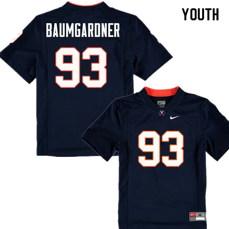 Youth #93 Christian Baumgardner Virginia Cavaliers College Football Jerseys Sale-Navy