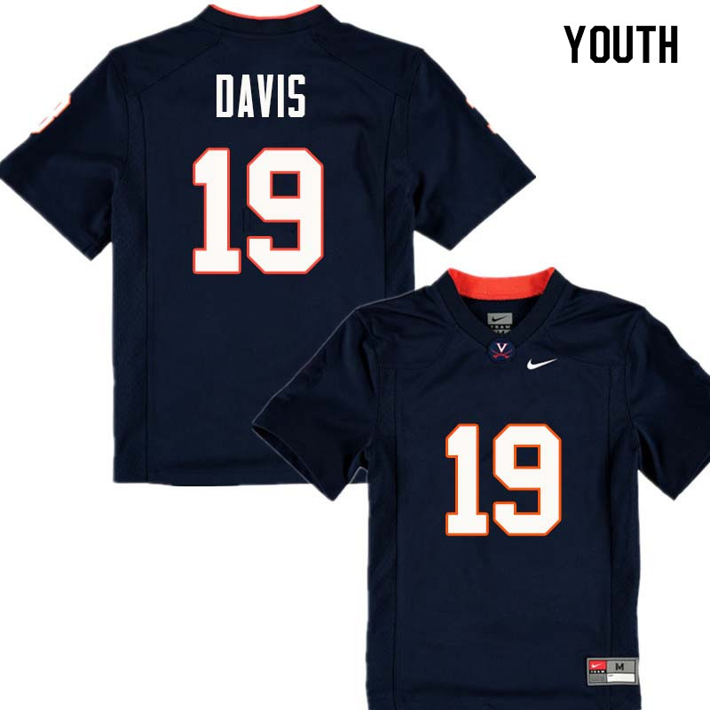 Youth #19 Chuck Davis Virginia Cavaliers College Football Jerseys Sale-Navy