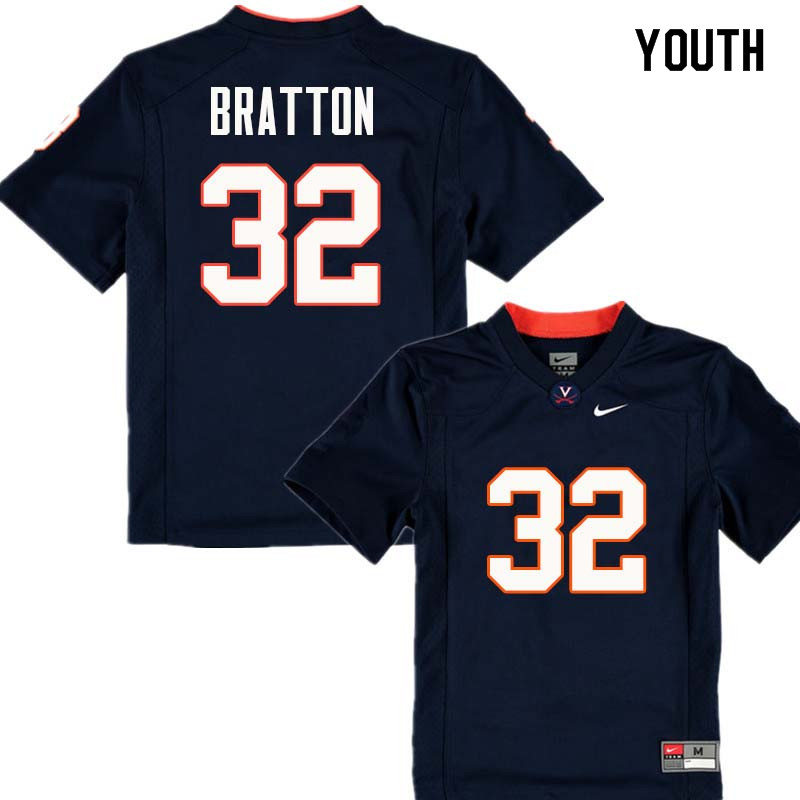 Youth #32 Darrius Bratton Virginia Cavaliers College Football Jerseys Sale-Navy