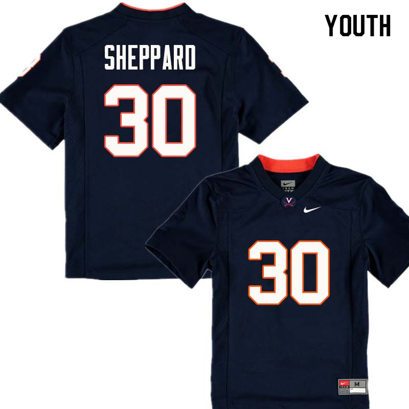 Youth #30 Dominic Sheppard Virginia Cavaliers College Football Jerseys Sale-Navy