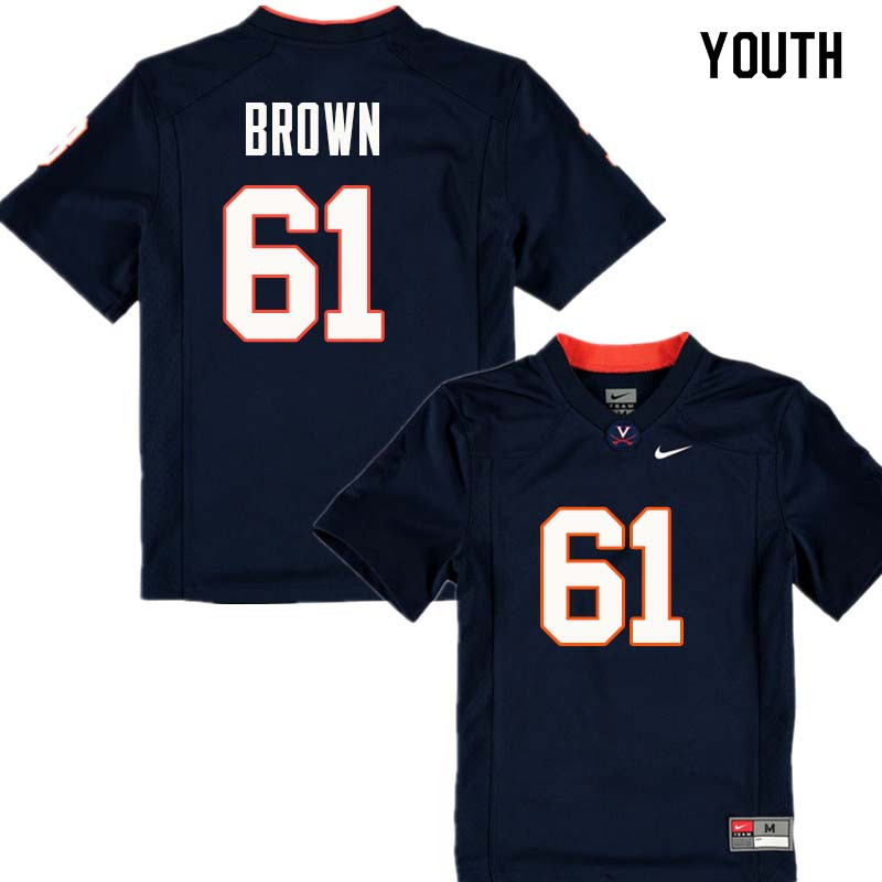 Youth #61 Elton Brown Virginia Cavaliers College Football Jerseys Sale-Navy