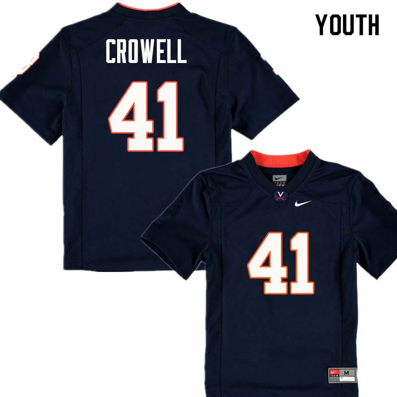 Youth #41 Germane Crowell Virginia Cavaliers College Football Jerseys Sale-Navy