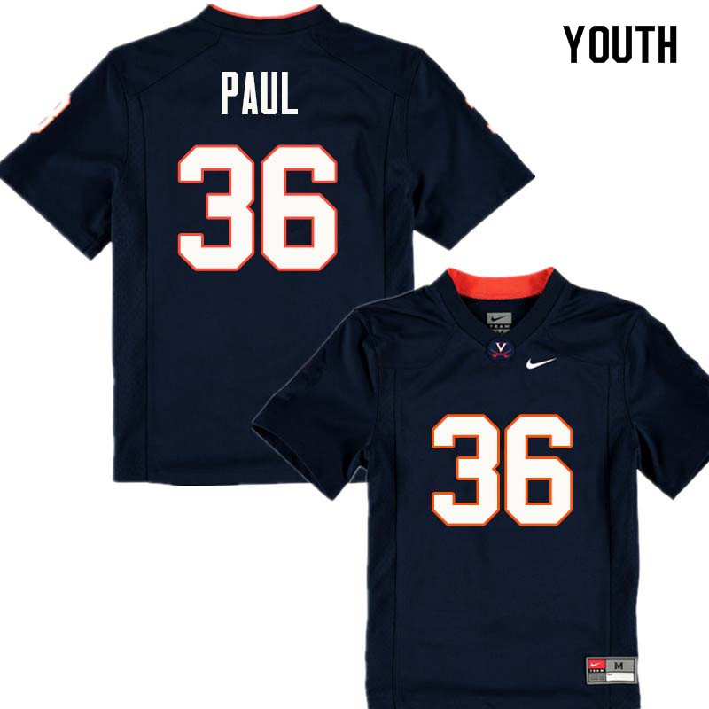 Youth #36 Gladimir Paul Virginia Cavaliers College Football Jerseys Sale-Navy