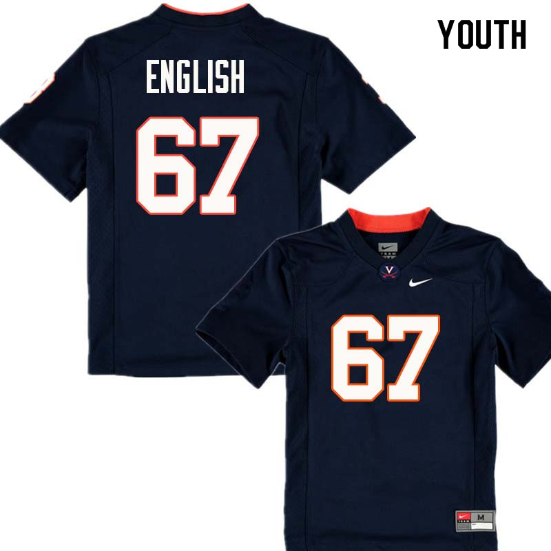 Youth #67 Jack English Virginia Cavaliers College Football Jerseys Sale-Navy