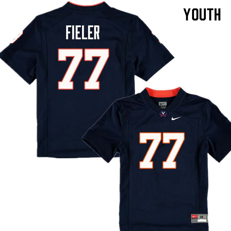 Youth #77 Jake Fieler Virginia Cavaliers College Football Jerseys Sale-Navy