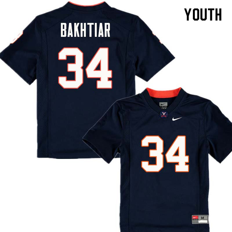 Youth #34 Jim Bakhtiar Virginia Cavaliers College Football Jerseys Sale-Navy