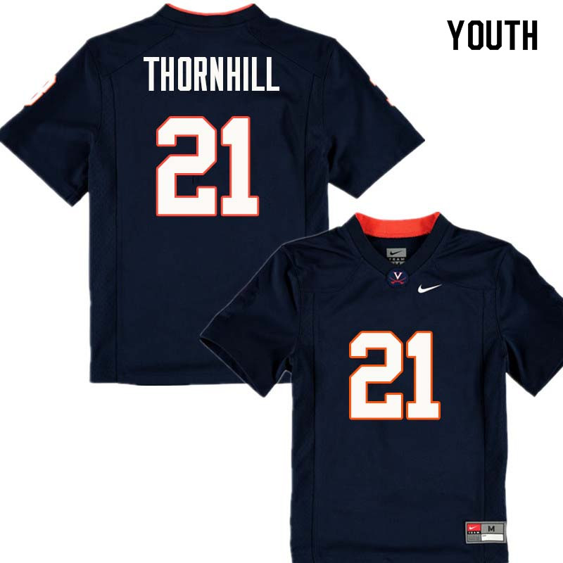 Youth #21 Juan Thornhill Virginia Cavaliers College Football Jerseys Sale-Navy