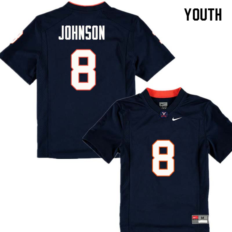 Youth #8 Keeon Johnson Virginia Cavaliers College Football Jerseys Sale-Navy