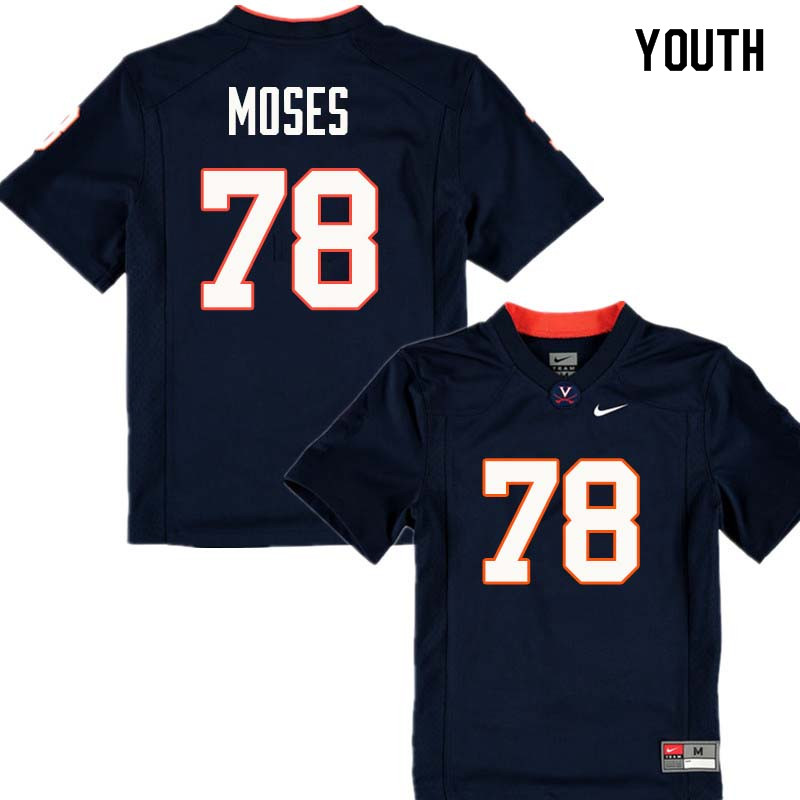 Youth #78 Morgan Moses Virginia Cavaliers College Football Jerseys Sale-Navy